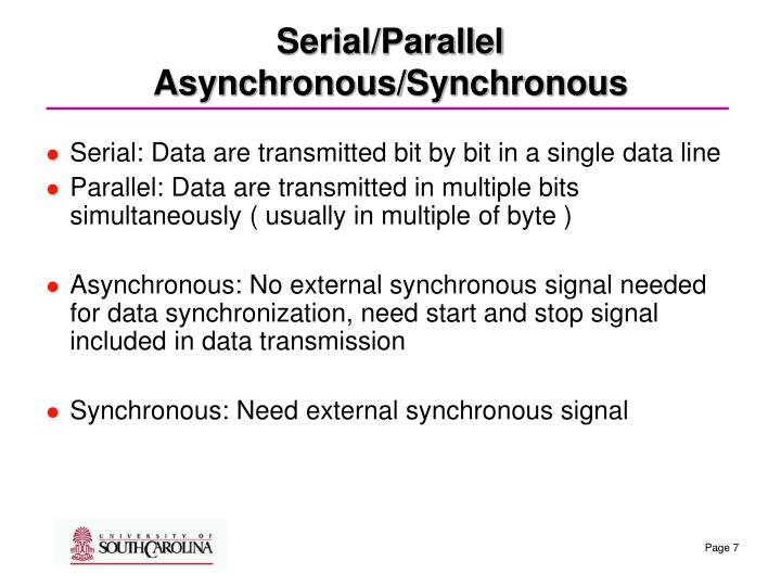 Serial/Parallel   Asynchronous/Synchronous
