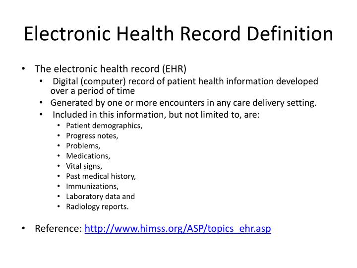 PPT - Electronic Health Record PowerPoint Presentation - ID:4621143