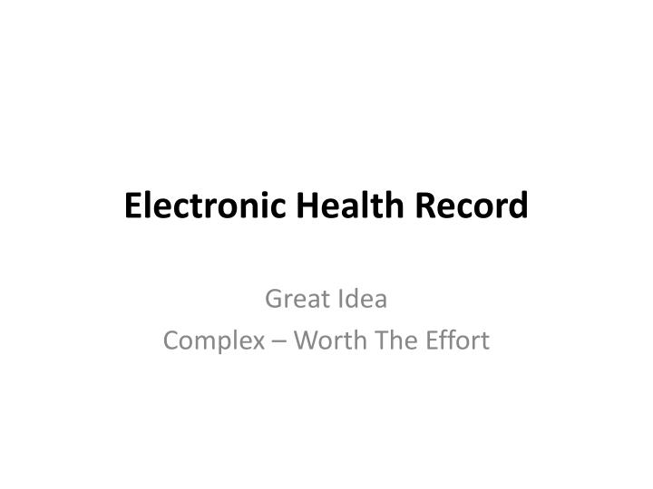 electronic health record n.