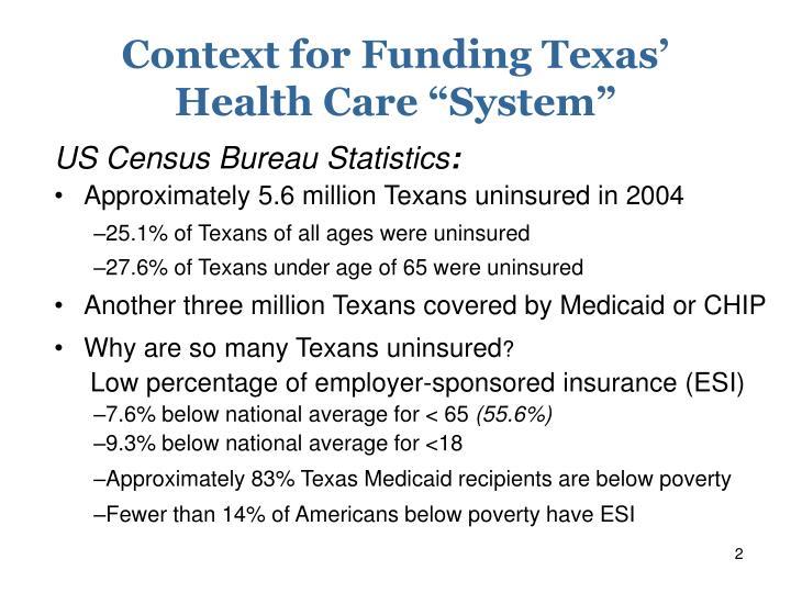 Context for Funding Texas'