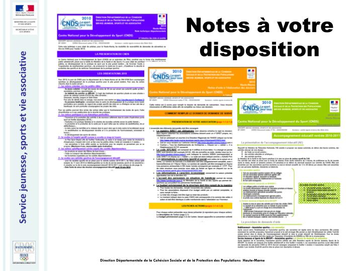 Notes à votre disposition