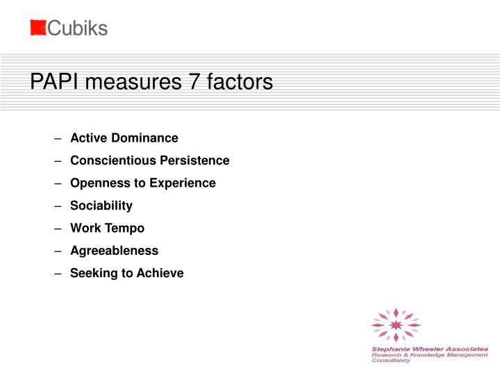 PAPI measures 7 factors
