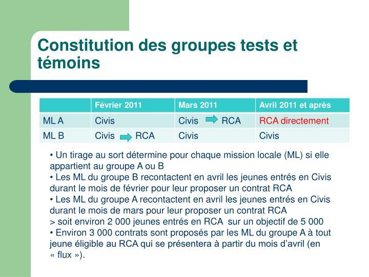 Constitution des groupes tests et témoins