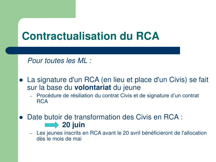 Contractualisation du RCA