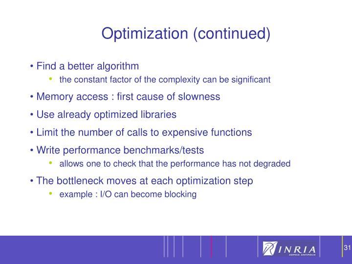 Optimization (continued)