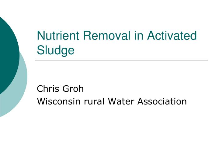 nutrient removal in activated sludge n.