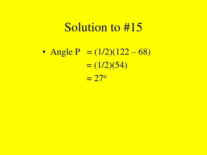 Solution to #15