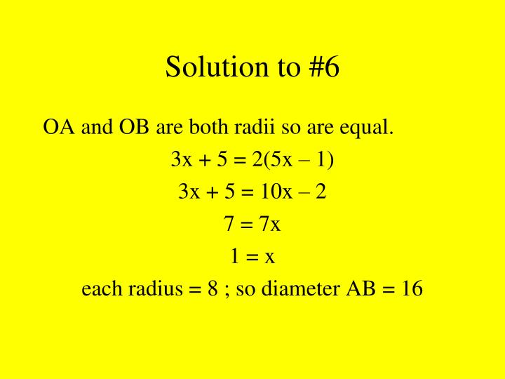 Solution to #6