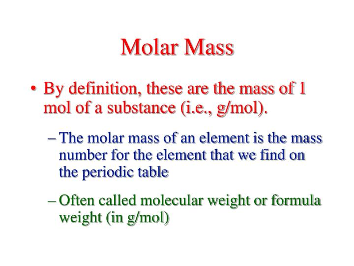 Ppt chapter 3 stoichiometry 31 amp 32 atomic masses 33 the molar mass urtaz Gallery