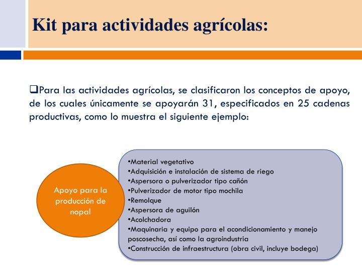 Kit para actividades agrícolas: