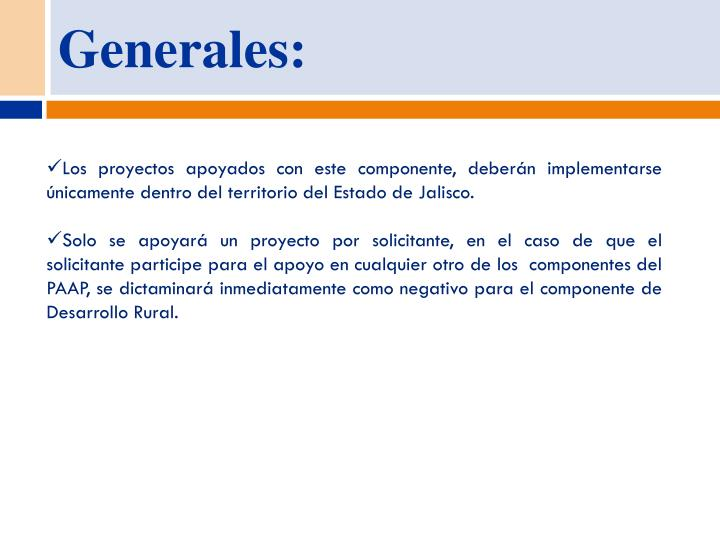Generales: