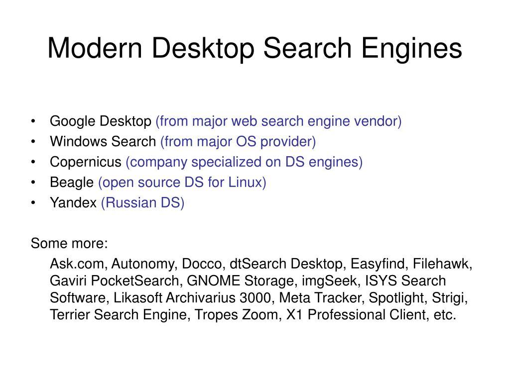 PPT - Enterprise and Desktop Search Lecture 5: Desktop