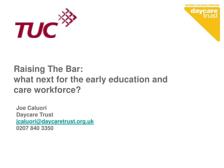 raising the bar what next for the early education and care workforce