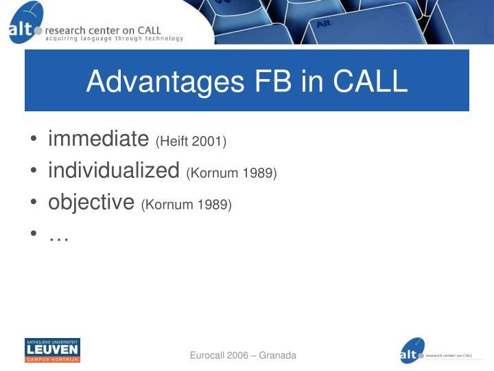 Advantages FB in CALL