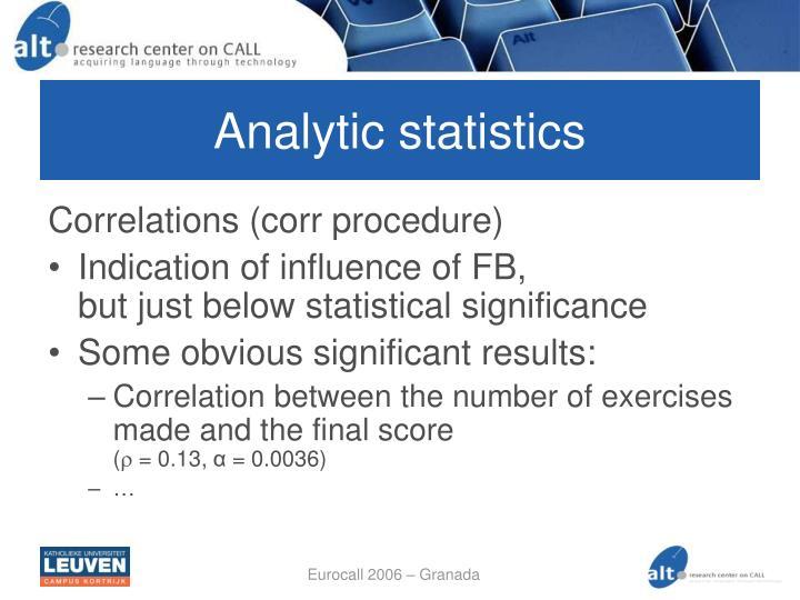 Analytic statistics