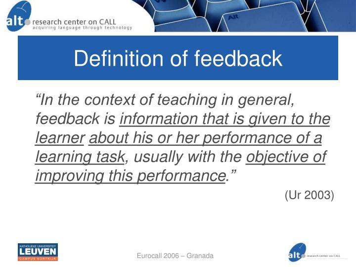 Definition of feedback