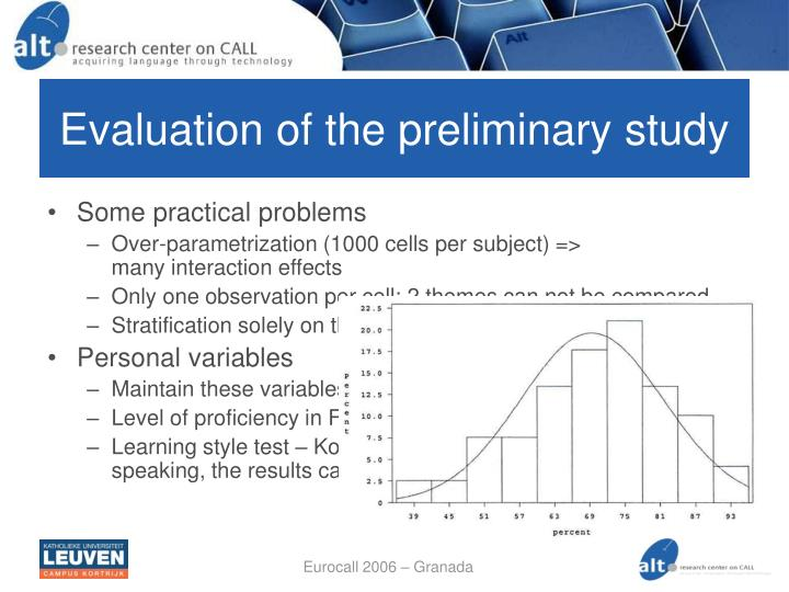 Evaluation of the preliminary study