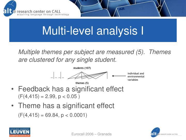 Multi-level analysis I