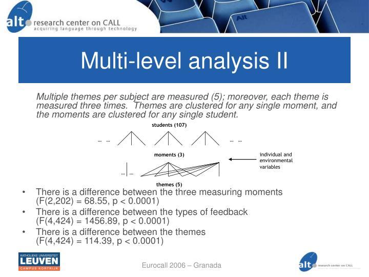 Multi-level analysis II
