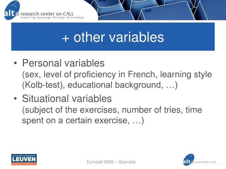 + other variables