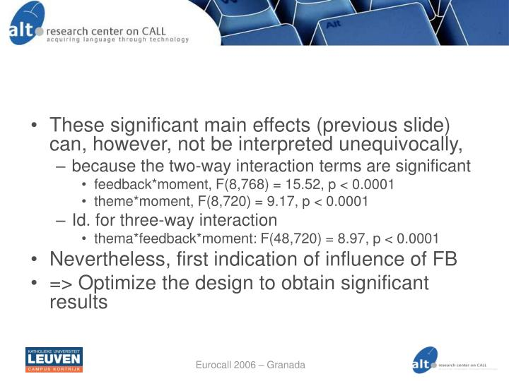 These significant main effects (previous slide) can, however, not be interpreted unequivocally,