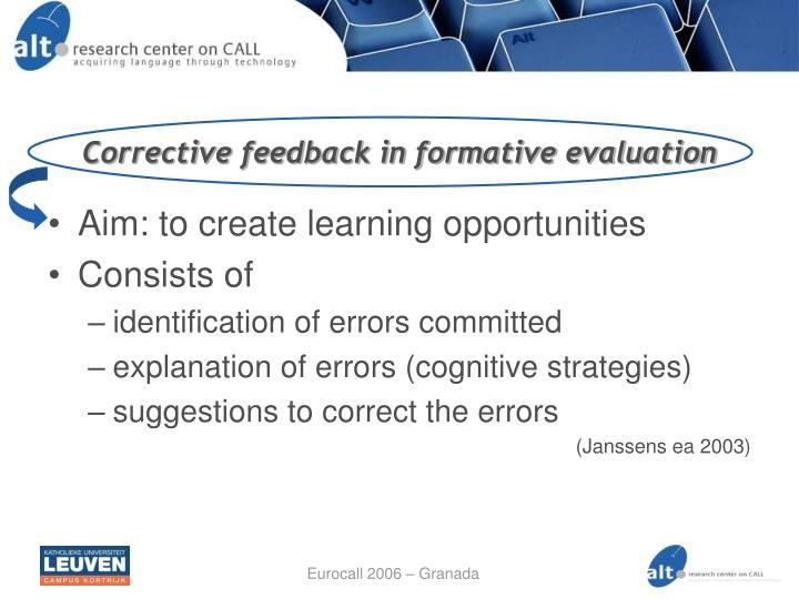 Corrective feedback in formative evaluation