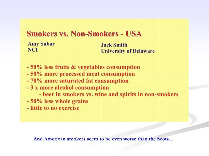 And American smokers seem to be even worse than the Scots…