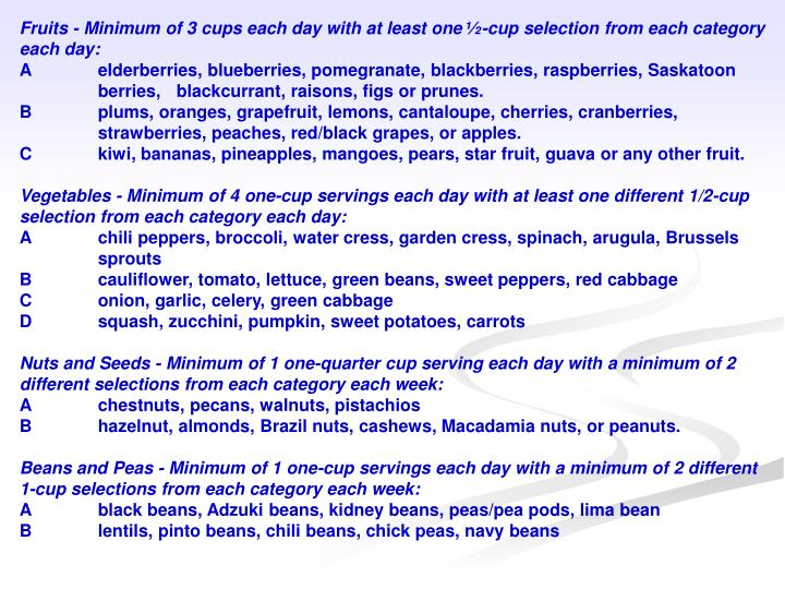 Fruits - Minimum of 3 cups each day with at least one ½-cup selection from each category each day: