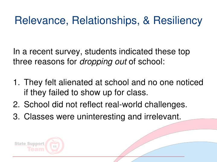 Relevance, Relationships, & Resiliency