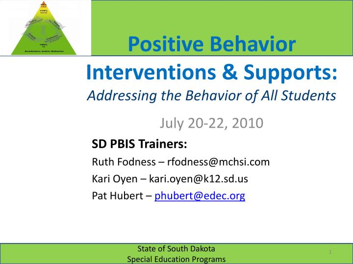 positive behavior interventions supports addressing the behavior of all students n.