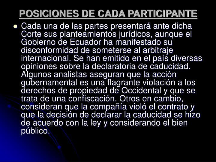 POSICIONES DE CADA PARTICIPANTE