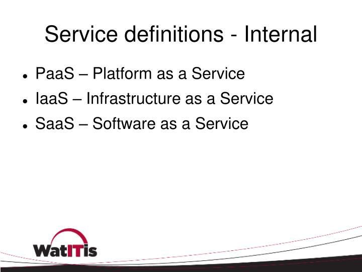 Service definitions - Internal