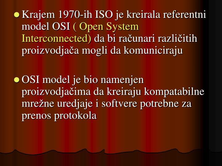 Krajem 1970-ih ISO je kreirala referentni model OSI