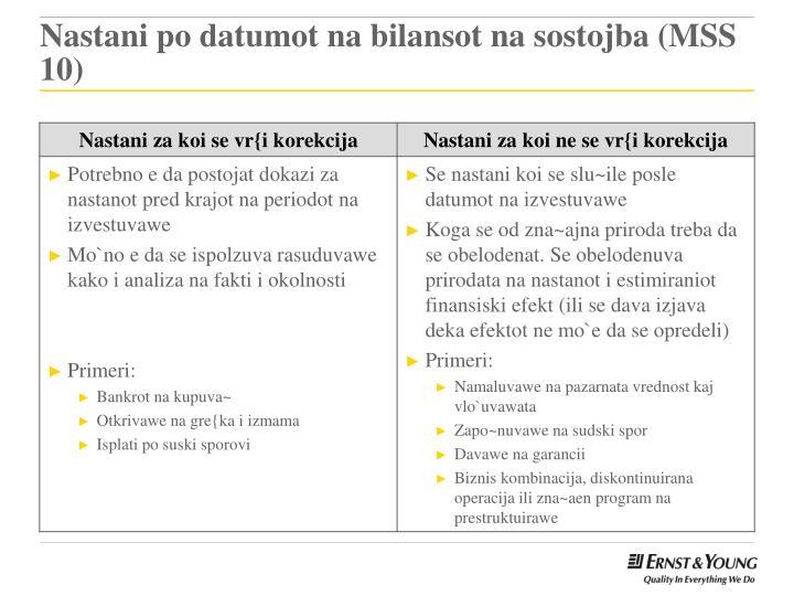 Nastani po datumot na bilansot na sostojba (MSS 10)