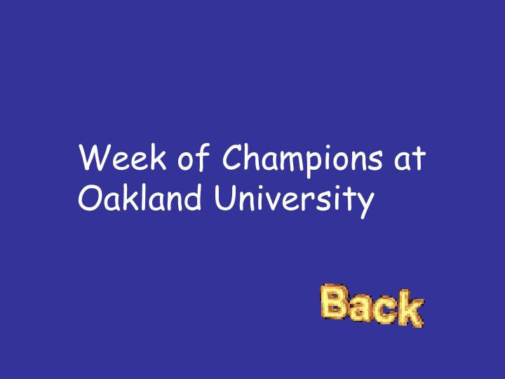 Week of Champions at Oakland University