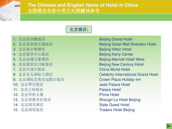 the chinese and english name of hotel in china n.