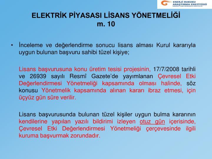 Elektr k p yasasi l sans y netmel m 10