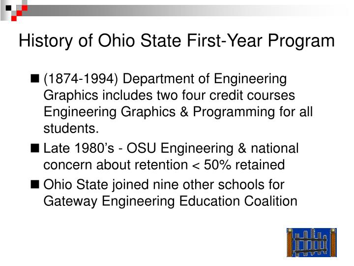 History of Ohio State First-Year Program