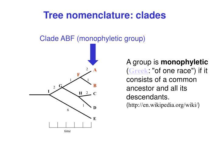 Tree nomenclature: clades