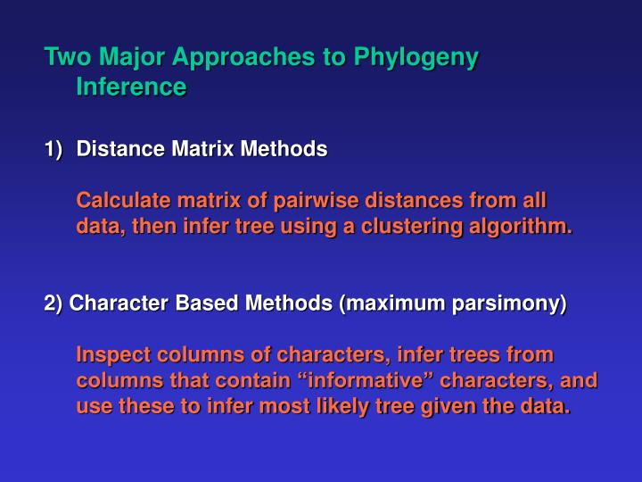 Two Major Approaches to Phylogeny Inference