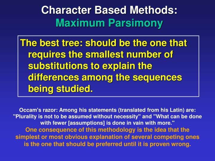 Character Based Methods: