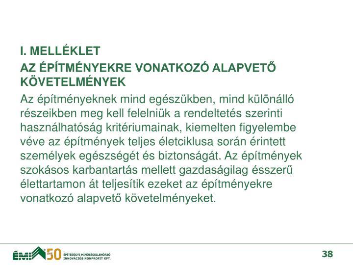 I. MELLÉKLET