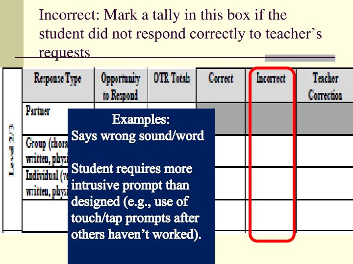Incorrect: Mark a tally in this box if the student did not respond correctly to teacher's requests