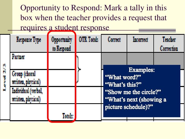Opportunity to Respond: Mark a tally in this box when the teacher provides a request that requires a student response