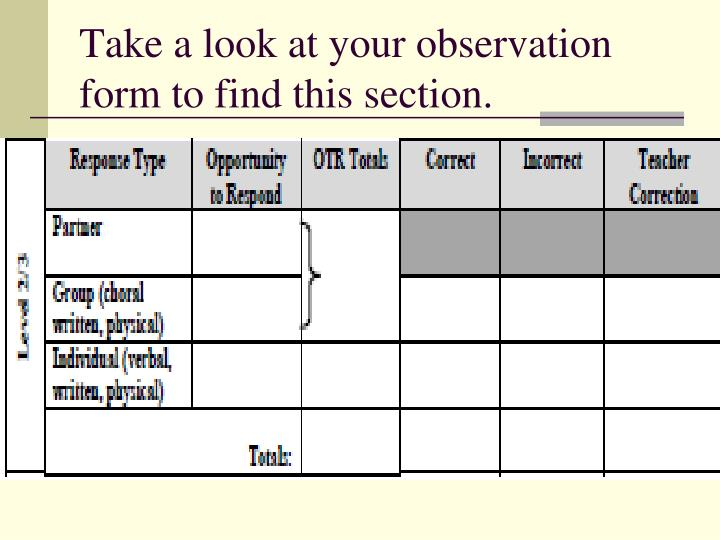 Take a look at your observation form to find this section.