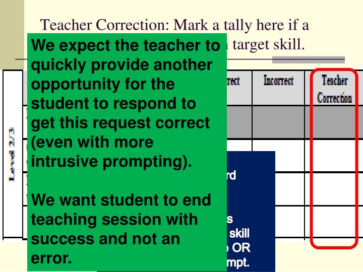 Teacher Correction: Mark a tally here if a teacher provides feedback on target skill.