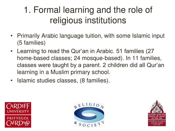 1. Formal learning and the role of religious institutions