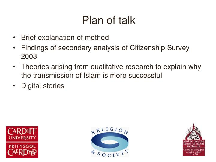 Plan of talk