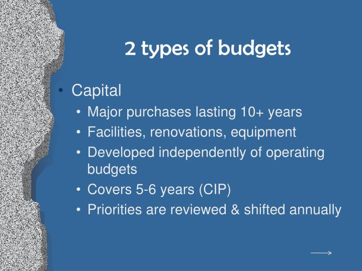 2 types of budgets