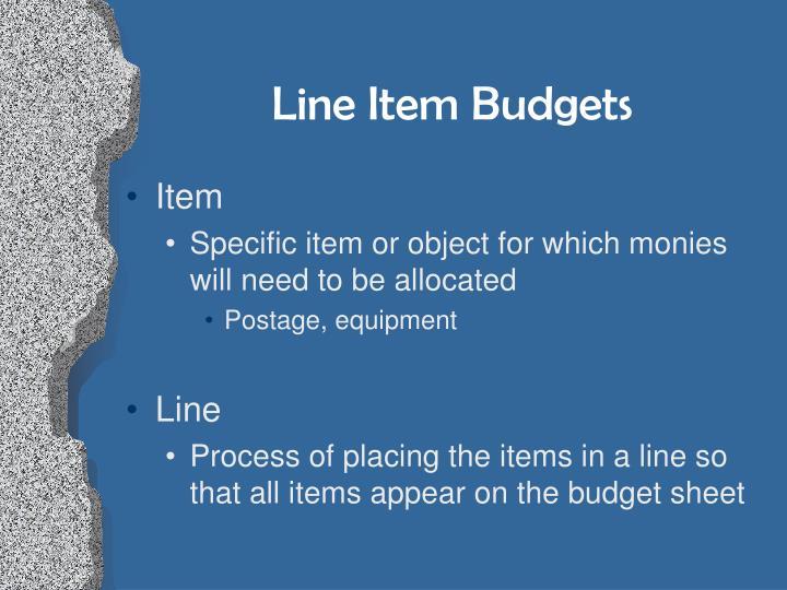 Line Item Budgets